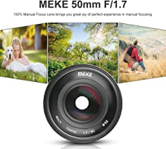 Meike MK 50mm f/1.7 Large Aperture Manual Focus Lens for Fuji X-Mount Mirrorless Cameras X-E3/X-T2/X-Pro2 with Full Frame/APS-C