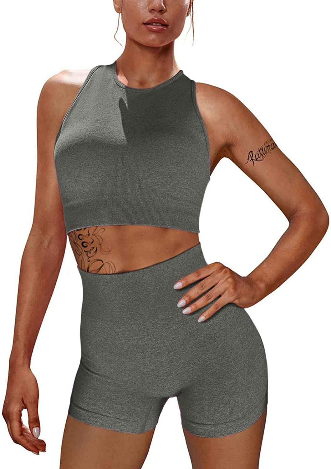 Workout Sets for Women 2 Piece Seamless Ribbed Tank High Waist Yoga Outfits