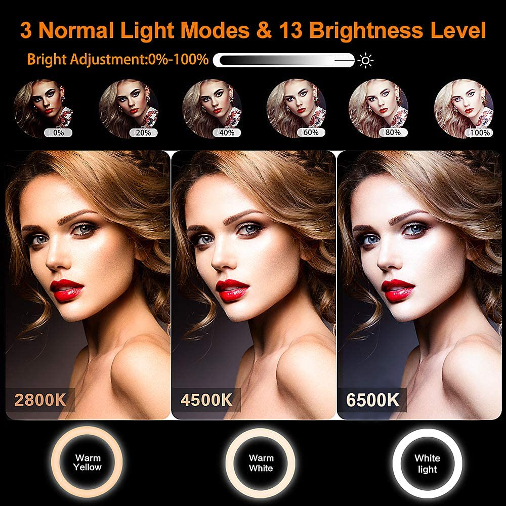 Upgraded Dimmable LED Desktop Circle Lamp 20 RGB Modes 13 Brightness 12 Selfie Ring Light with 59 Extendable Tripod Stand /& Phone Holder for Live Stream Makeup Wireless Remote for iPhone Android