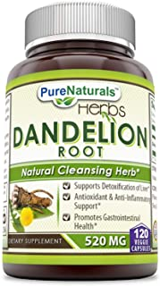 Pure Naturals Dandelion Root Dietary Supplement 520 Mg 120 Capsules- Supports Detoxification of Liver* Antioxidant & Anti-...