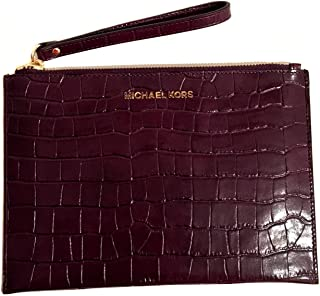 cc85039f13ac Michael Kors Jet Set Travel XL Large Zip Clutch Embossed Leather Wristlet  Purse