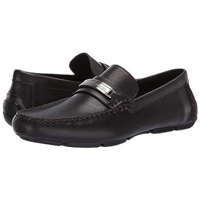 Calvin Klein Kolton (Dark Brown Hatched Embossed Leather) Men