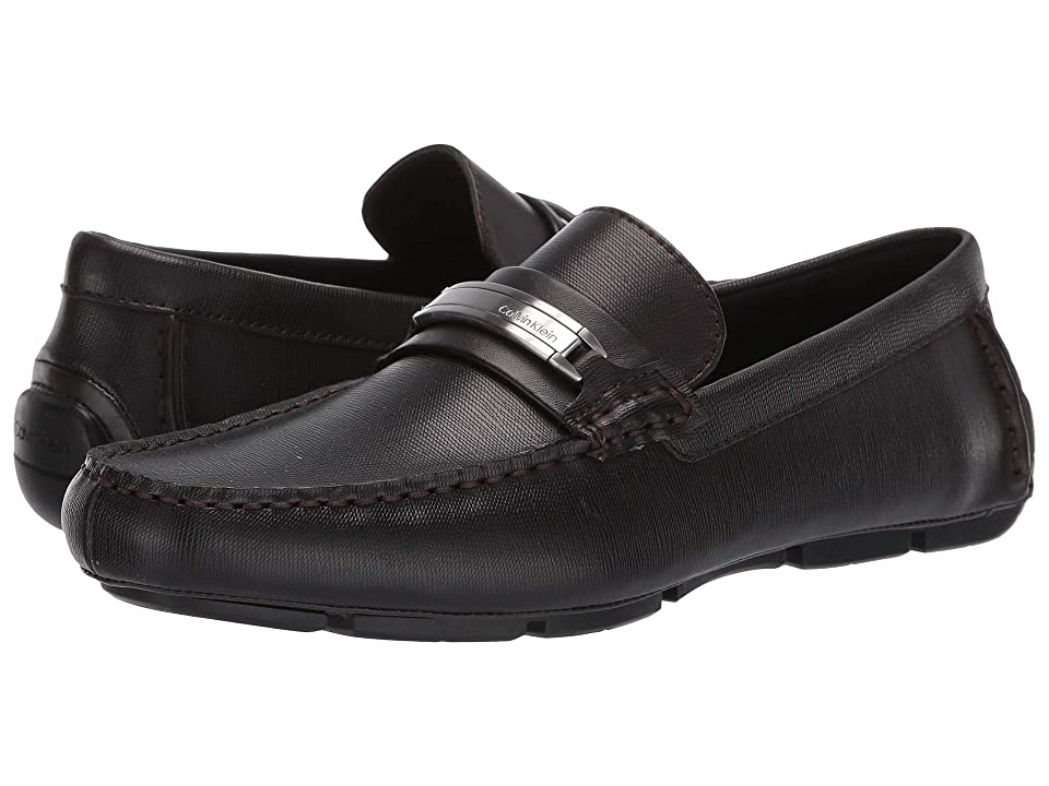 Calvin Klein Kolton (Dark Brown Hatched Embossed Leather) Men
