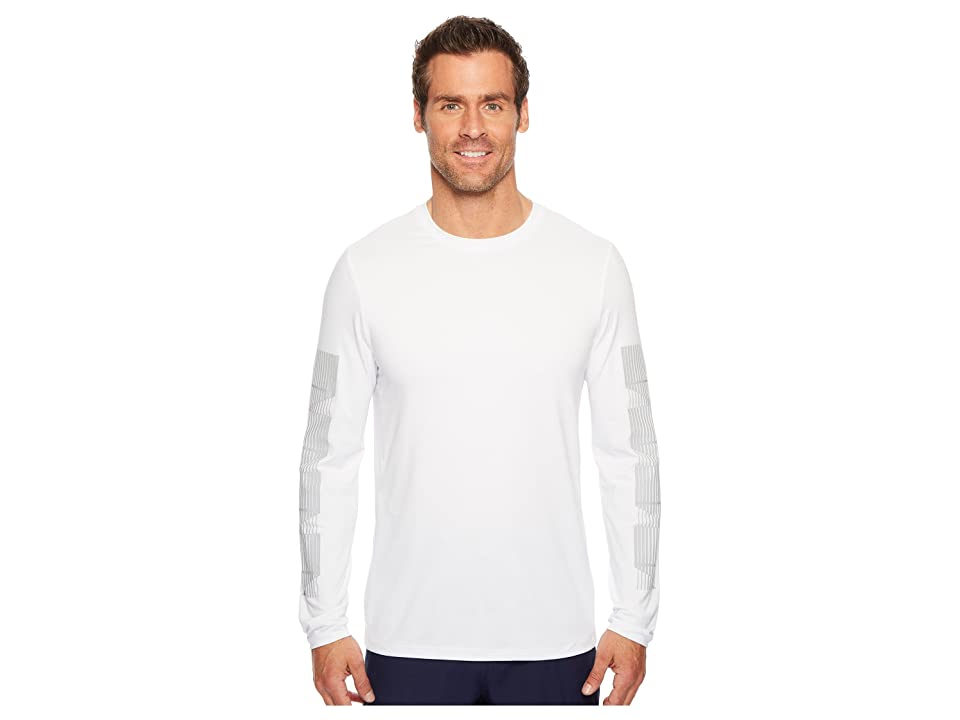 Perry Ellis PE360 Active Print Stripe Crew Tee (Bright White) Men