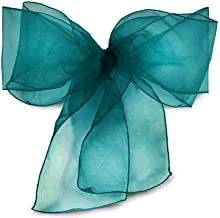 Elina Home Pack of 100 Organza Net Chair Cover Bow Sash Wedding Banquet Decor Coral (100, Dark Teal)