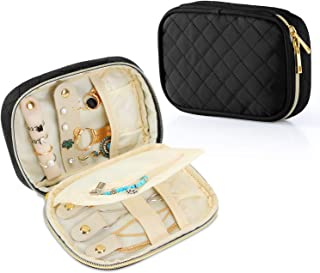 Teamoy Small Jewelry Travel Case, Portable Jewelry Organizer Bag for Earrings, Necklace, Rings and More (Small, Quilted- Black)