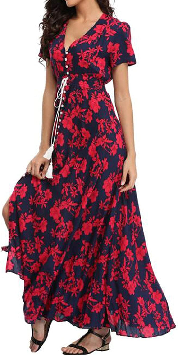 Glad You Came Long Summer Floral Maxi Dress Women Flower Print Casual Split Beach Dress Elegant Cotton Vintage,13,XXL
