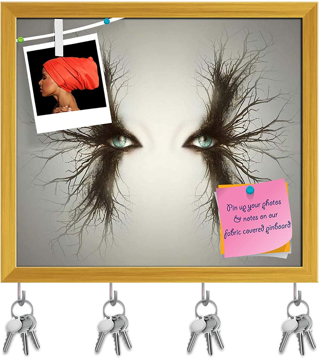 Artzfolio Artistic Female Eyes with Branches D2 Key Holder Hooks   Notice Pin Board   golden Frame 18.2 X 16Inch