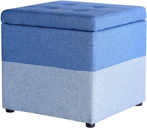 Yuan Polsterhocker Tuch-Kunst-Mehrfarbenspeicher-Schemel-Schuh-Bank-Foyer-Schlafzimmer-Frisierkommode-Einkaufszentrum-Schuh-Speicher-Schemel, 40  40  40cm  Hocker (Farbe   Blau)