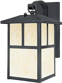 Westinghouse Lighting 6482900 Nova Scotia One-Light Outdoor Wall Lantern with Dusk to Dawn Sensor, Textured Black Finish with Honey Art Glass