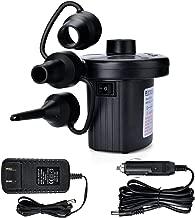 TMANGO Electric Air Pump, Portable Quick Fill Air Pump with 3 Nozzles, 110V AC/12V DC Inflator/Deflator Pumps for Air Mattress, Inflatable Cushions, Boats, Swimming Pool/Ring