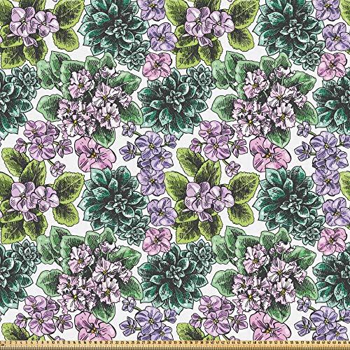 ABAKUHAUS Blumen Stoff als Meterware, Usambaraveilchen Pfingstrosen, Microfaser Multi Zweck Dekostoff für Kunsthandwerke, 3M (230x300cm), Bunt