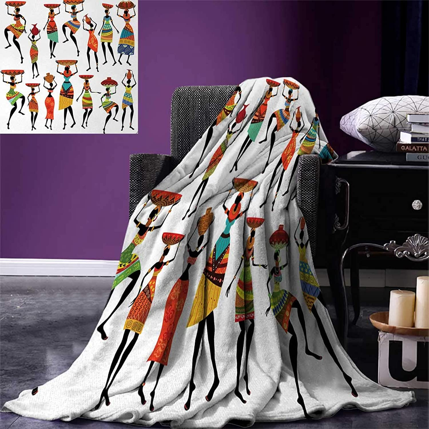 Anniutwo African King Flannel Blanket Pattern Cool African Women Carrying Some Ethnic Ornaments on Their Heads Artprint Weave Pattern Extra Long Blanket 90 x108  Multi
