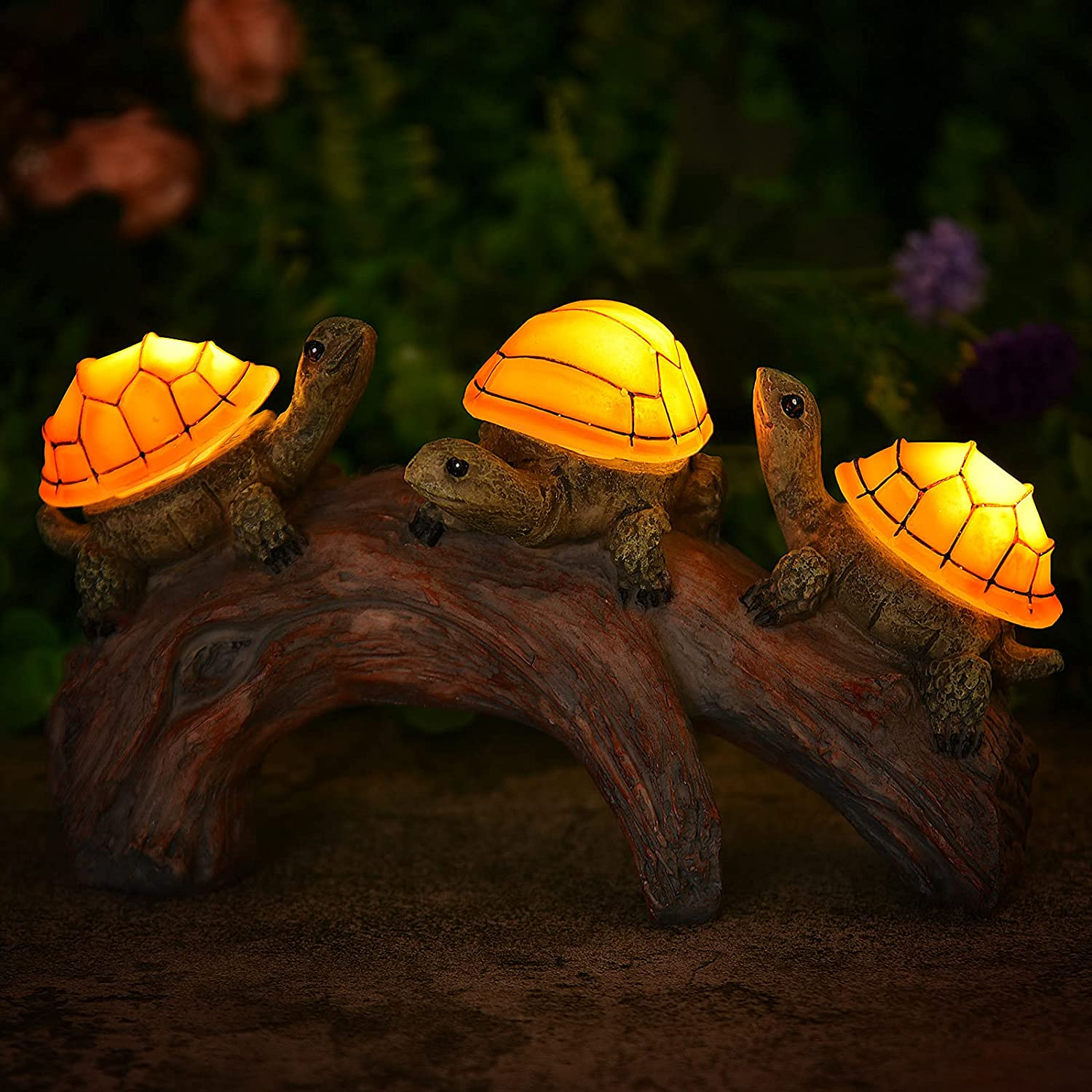 Free shipping New 3 Turtles on a Log - Solar Decor Lawn Lights Outdoor Outlet SALE Garden Orn