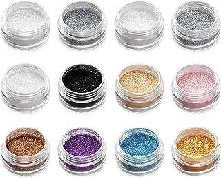 YFQX, Glitter, Holografische Chunky Glitter, 12 kleuren, Fijn los Glitterpoeder, voor gezicht Body Eye Hair Nail Festival