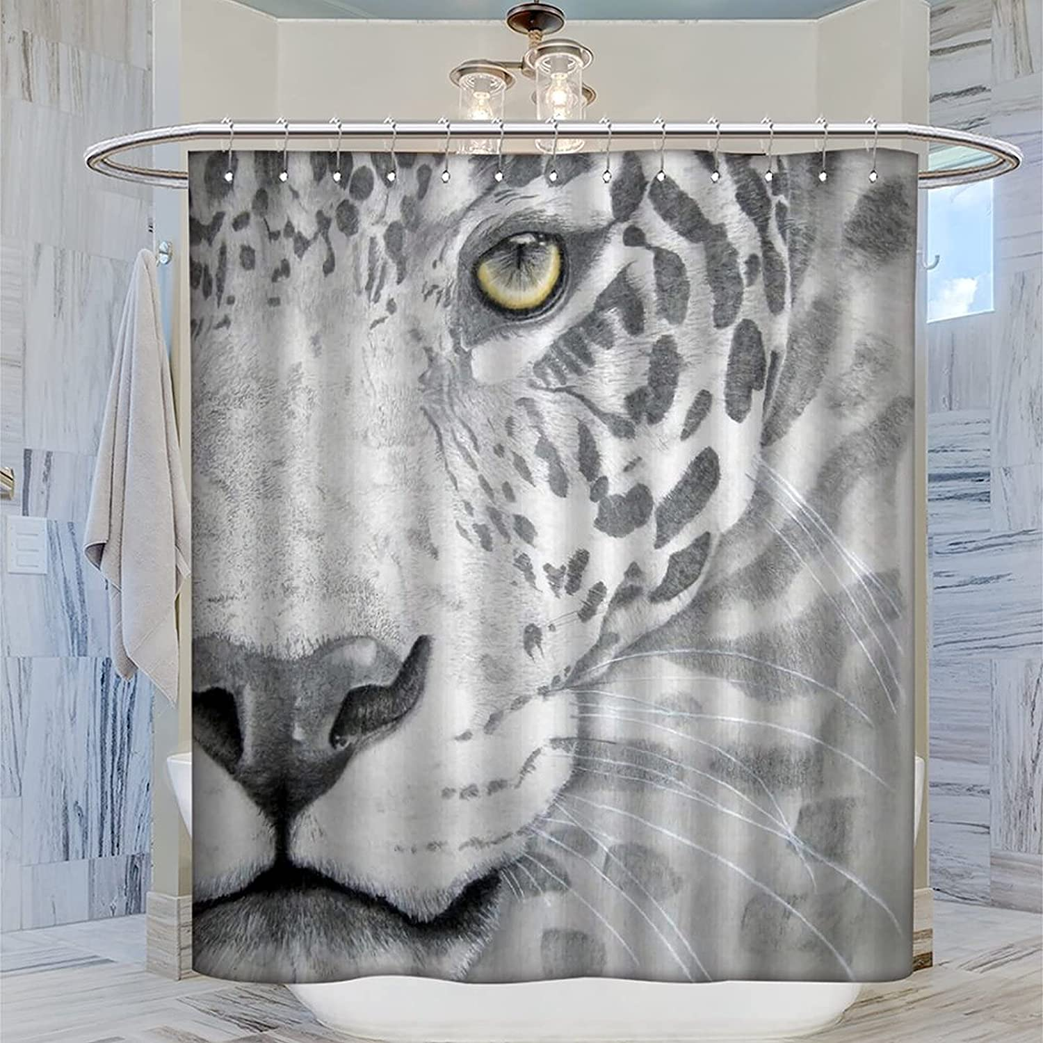 AOKIA Don't miss price the campaign Shower Curtain Black and Leopard Painting Show White Decor