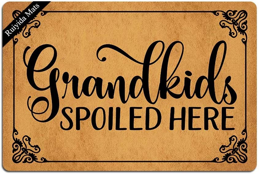 Ruiyida Grandkids Spoiled Here Doormat Custom Home Living Decor Housewares Rugs and Mats State Indoor Gift Ideas 23.6 by 15.7 Inch Machine Washable Fabric Top
