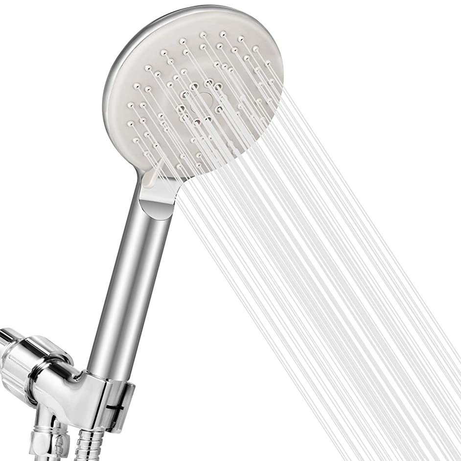 jooe high pressure rv shower heads with handheld spray on off switch adjustable, hard water shower head filter with extra long hose& holder set, chrome