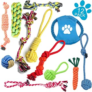 JSXD Dog Toys, Small Dog Rope Toys 12 Pack Puppy Dog Chew Toys Breed Puppy Teething Toys Small to Medium Dogs Puppy Toys Washable Cotton Rope Dog Toy Set of 12