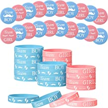 48 Pieces Gender Reveal Set, Includes 24 Pieces Gender Reveal Button Pins 24 Pieces Gender Reveal Bracelets Team Boy Girl ...