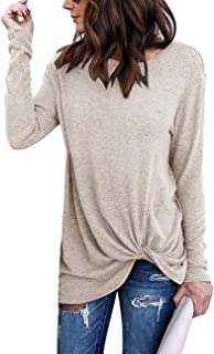 Women's Comfy Casual Long Sleeve Side Twist Knotted Tops Blouse Tunic T Shirts