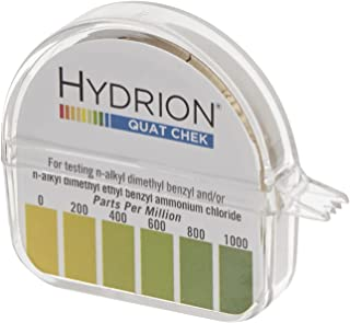 Micro Essential Lab QC-1001 Plastic Hydrion High Range Quat Check Test Paper Dispenser, Single Roll, Food Service Test Strips, 0 - 1000 ppm (Case of 10)
