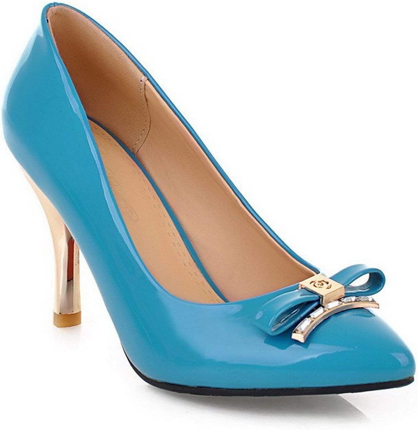 Tirahse Comfortable Women's Patent Leather Pull-on Pointed Closed Toe High-Heels Solid Pumps-shoes