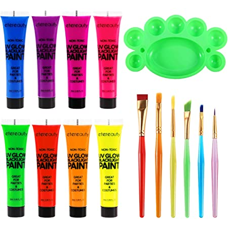 Body Paint - Set of 8 Tubes - Neon Fluorescent 8.0 oz, ETEREAUTY Glow Blacklight Face and Body Paint with 6 Brushes and a Mixing Palette