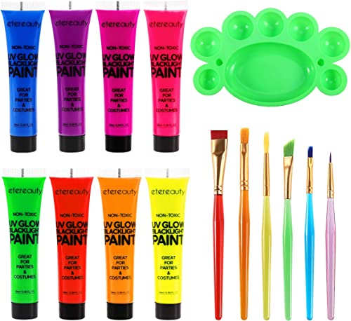 Body Paint - Set of 8 Tubes - Neon Fluorescent 8.0 oz, ETEREAUTY Glow Blacklight Face and Body Paint with 6 Brushes a...