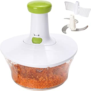 Brieftons Express Chopper Food: Chopper / میکسر دستی بزرگ 6.8-فنجان ، سریع و قدرتمند برای خرد کردن میوه ها ، سبزیجات ، گیاهان ، پیاز سالسا ، سالاد ، پستو ، هاموس ، گواکامول ، کلشلو ، پوره