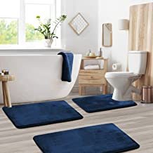 Memory Foam Bathrug Set - Royal Blue Bath Mat and Shower Rug Large 20 x 32 Small 17 x 24 Contour 24 x 19 Non Slip Latex Fr...