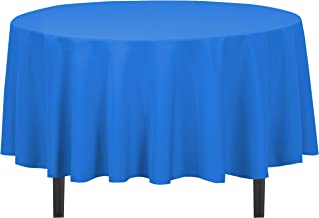 LinenTablecloth Round Cotton-Feel Tablecloth, 90-Inch, Royal Blue