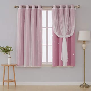 Deconovo Mix and Match Curtain Set 2 Piece Silver Waterdrops Printed Blackout Curtains Pink and 2 Piece White Tulle Lace Sheer Curtains for Girls Room with Grommet Top 4 Curtain Panel 52W x 63L Inch