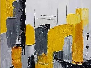 Peinture À L'Huile Peinte À La Main Sur Toile, Modern Minimalist Abstraction Art Tridimensionnel Noir Et Blanc Dessiné À L...