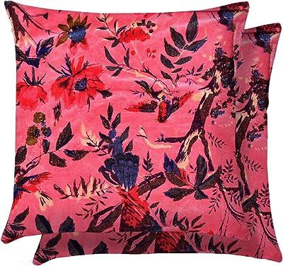 HANDICRAFT-PALACE Bird Floral Printed 2 PC Cushion Cover Pillow Case Velvet Pillow Sham Home Decorative (Pink)