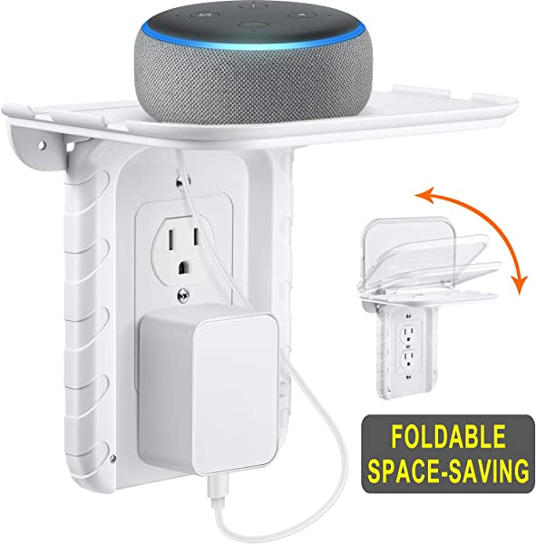 Topcolor Foldable Outlet Shelf Bulit In Cable Channel Phone Stand Holder For Hidden Cord And Extra Custom Short Cord Great For Google Home DOT Nest Security Camera Smart Speakers Duplex N
