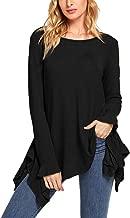 SheIn Women's Loose Scoop Neck Long Sleeve Asymmetric Ruffle Hem Knit Top
