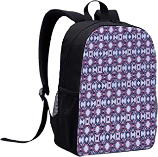 Geometric Stylish Backpack,Hexagonal Diagonal Squares Digital Featured Artistic Modern for School Travel,12″L x 5″W x 17″H