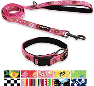 QQPETS Dog Collar and Leash Set Personalized Heavy Duty Collars Leashes for Small Medium Large Dogs Training Walking