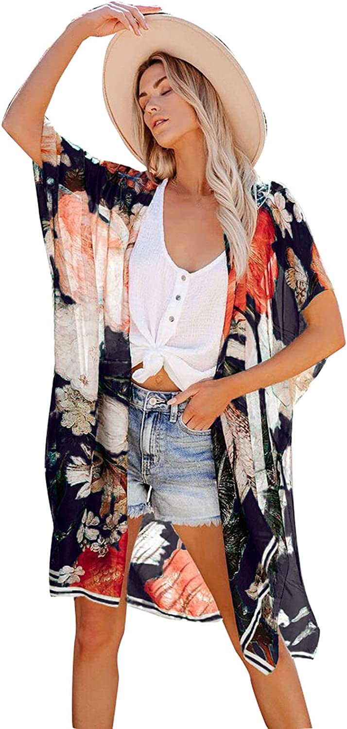 A2A Boho Cover Ups for Women Open Front Kimono Casual Cardigan Loose Swimwear Beach Summer Hollow Out Stylish Swimsuit