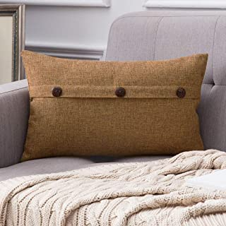 MIULEE Decorative Linen Throw Pillow Covers Cushion Case Triple Button Vintage Farmhouse Pillowcase for Couch Sofa Bed 12 x 20 Inch 30 x 50 cm Brown