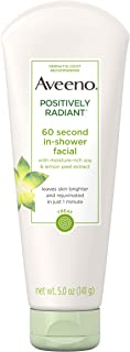 Aveeno Positively Radiant 60 Second In-Shower Facial Cleanser, Brightening Mask With Moisture-Rich Soy, Lemon Peel Extract, Glycolic Acid, and Kaolin Clay, 5 oz (Pack of 3)