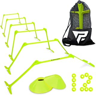 Pro Adjustable Hurdles and Cone Set – 6 Agility Hurdles (6, 9 or 12 Height) with 12 Disc Cones for Soccer, Sports, Plyometric Speed Training – Includes Carry Bag & 2 Agility Drills eBooks