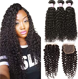 Beauty Forever Hair Brazilian Curly Virgin Hair 3 Bundles Weave with 3 Part Lace Closure for Women Natural Color Unprocessed Human Hair Extensions 10 12 14+ 10closure)