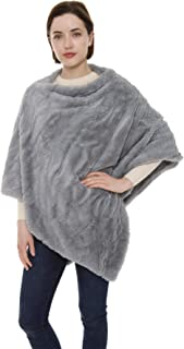 Women's Winter Warm Fashion Faux Fur Throw Poncho Solid Color Soft Sweater