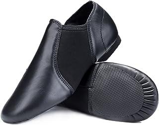 STELLE Leather Slip-on Jazz Shoes for Womens Girls Boys Toddler Kids Mens
