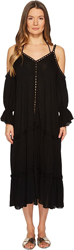 Crepe Studded V-Neck Dress Cover-Up