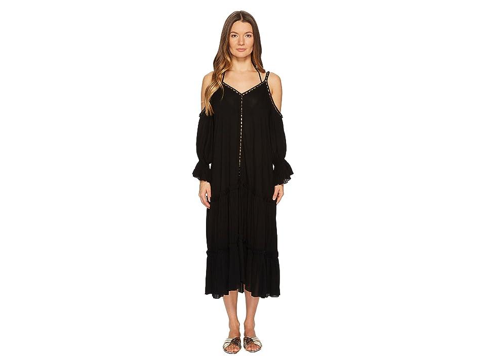Jonathan Simkhai Crepe Studded V-Neck Dress Cover-Up (Black) Women