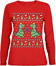 Old Glory Tree Rex T Rex Ugly Christmas Sweater Womens Long Sleeve T Shirt