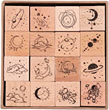 Cliocoo 16pcs Moon Star Mouantain Sea River Wood Rubber Stamp Set M-79 Mountain Ocean
